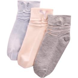 Calcetines cortos de tela no rizada para niñas [paquete de 3], PASTEL COMBO, pequeño